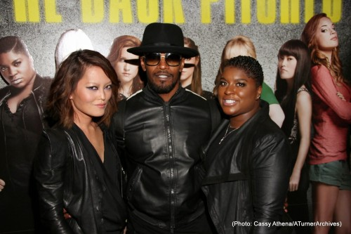 Hana Mae Lee (L) Ester Dean (R)  Held a private Pitch Perfect 2 Industry Screening on Tuesday, May 12, 2015 at the London Hotel in West. Jamie Foxx was one of the celebrity guests in attendance