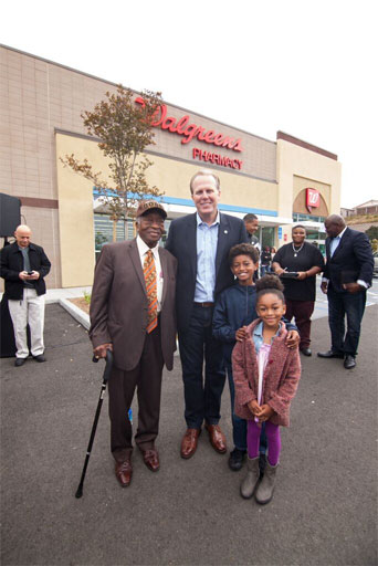 """City of San Diego Mayor Kevin Faulconer greets residents of southeastern San Diego's Diamond Neighborhoods at the grand opening celebration for the Walgreens near Market Street and Euclid Avenue. Photo: Courtesy of the Jacobs Center for Neighborhood Innovation."""""""