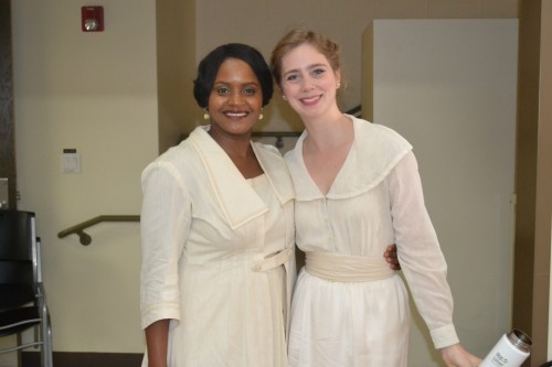 (L) Monique Gaffney plays Beatrice and Sexton, and Lindsay Brill plays, Margaret, Verges, Friar Francis.