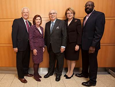 Murray Koppelman '57 with Brooklyn College President Karen L. Gould and (from left) Vice President for Institutional Advancement Andrew Sillen, Marge Magner '69, and Willie Hopkins, dean of the newly-named Murray Koppelman School of Business.