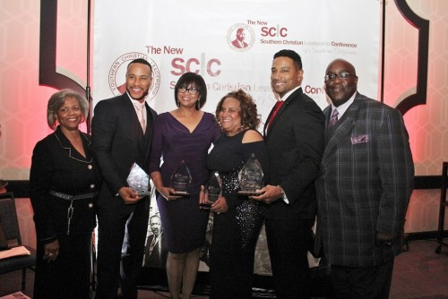 Alice Goff the SCLC-SC Chair, DeVon Franklin, Cheryl Boone Isaacs, Charisse Bremond Weaver, Ken Maxey and Pastor William D. Smart, Jr. President/ CEO SCLC-SC you know the names for second picture. William Allen Your Master of Ceremonies