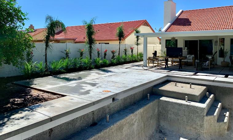 Waterline Tile Installed & Landscaping