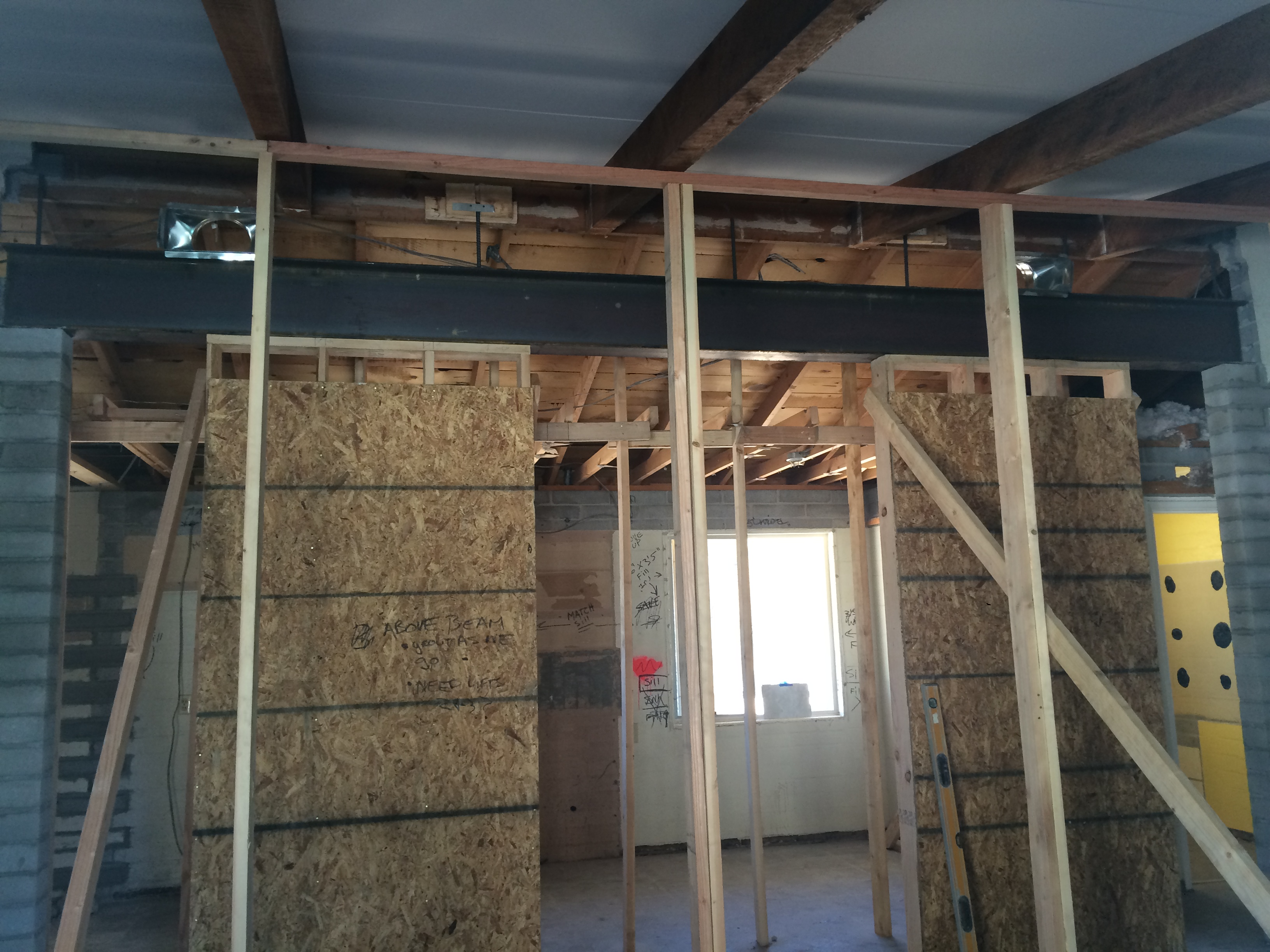 Rancho Remodel – Progress! Check out the MASSIVE (around 16 foot) beam we installed