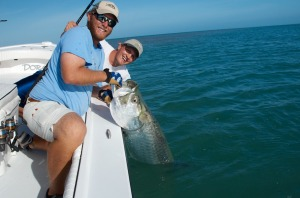 Capt. Kyle releasing a Key West tarpon