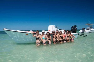 Bachelorette party at Snipes Point sandbar