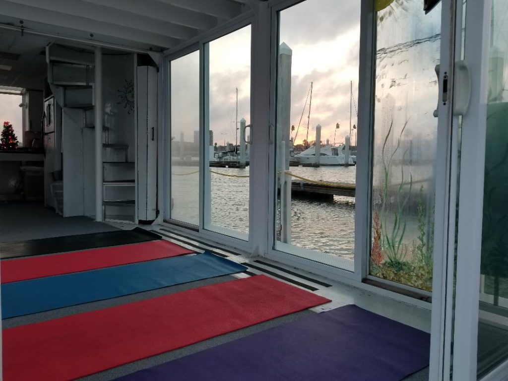 Winter yoga inside at Water dog
