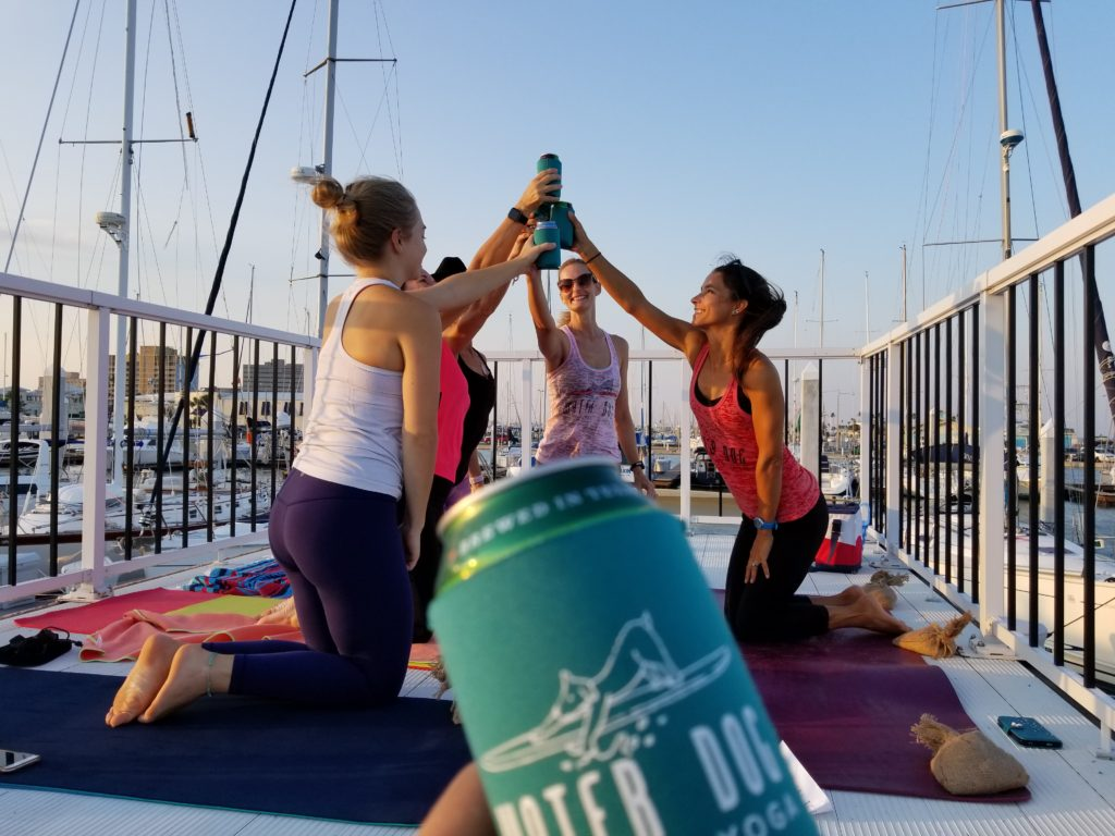 Beer Yoga on the boat