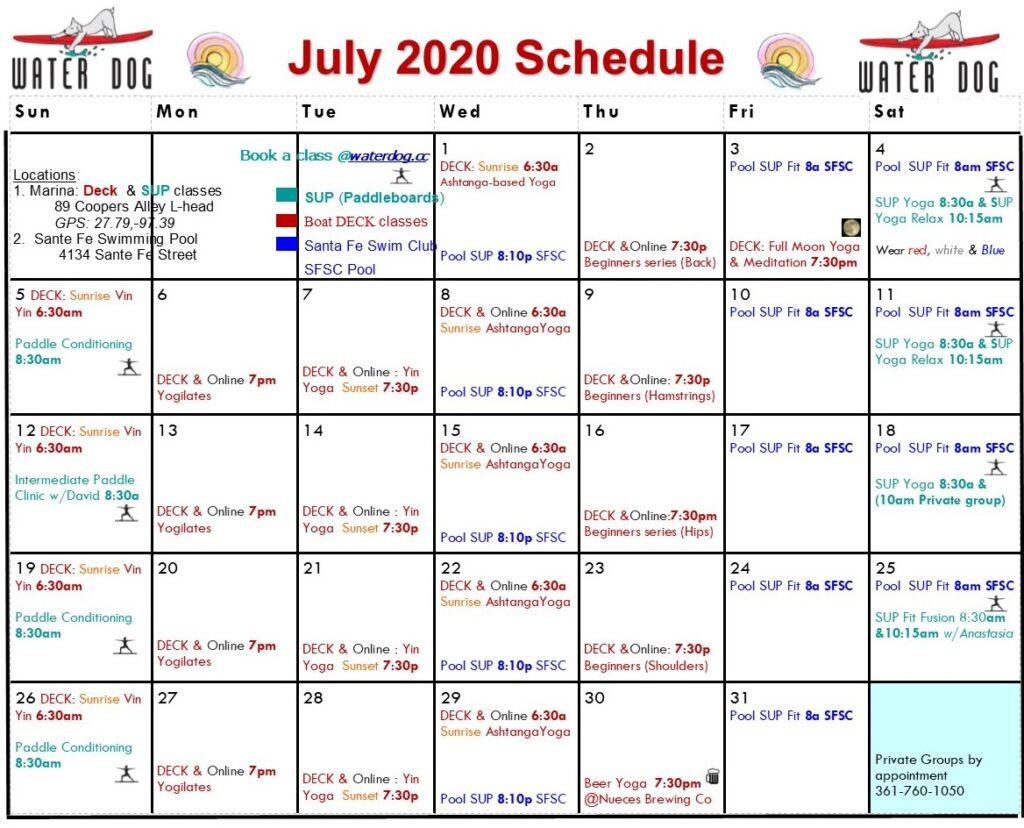 2020 7 July calendar ONline