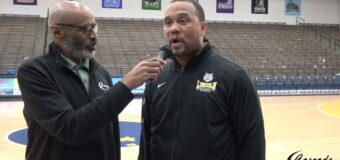 Interview with Head Basketball Coach at Lincoln Prep Ryan Glasgow   at the Lincoln Prep VS Central Game
