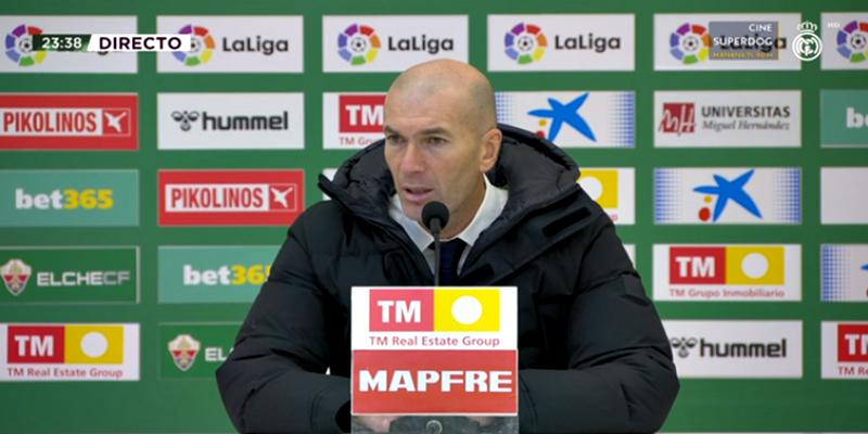 VÍDEO   Rueda de prensa de Zinedine Zidane tras el partido ante el Elche