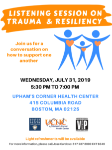 Listening Session on Trauma and Resiliency @ Upham's Corner Health Center