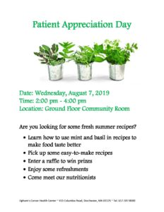 Patient Appreciation Day - Wednesday, August 7, 2019 @ Upham's Corner Health Center
