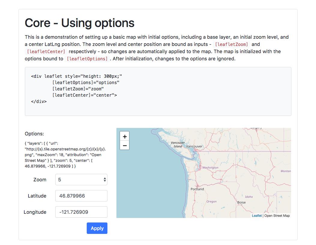 screenshot of the ngx-leaflet demo application
