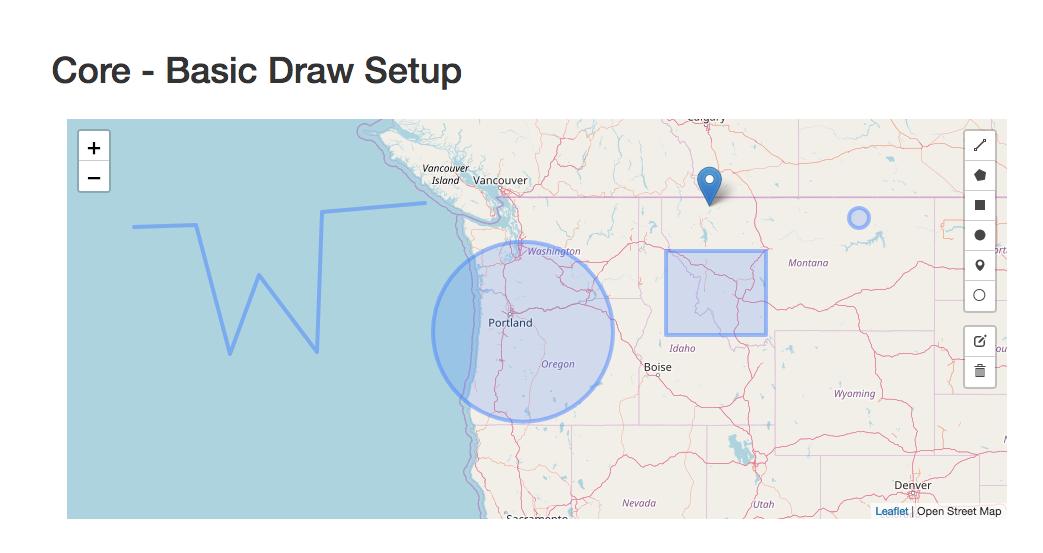 screenshot of the ngx-leaflet-draw demo application