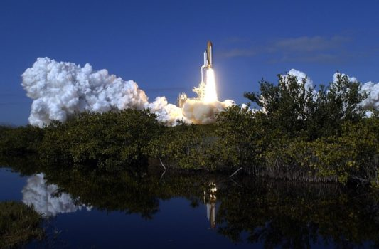 space shuttle launching Columbia
