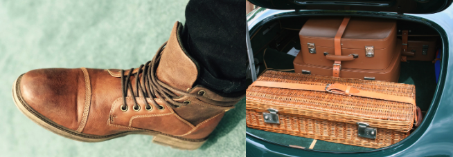 brown leather boot and open car trunk