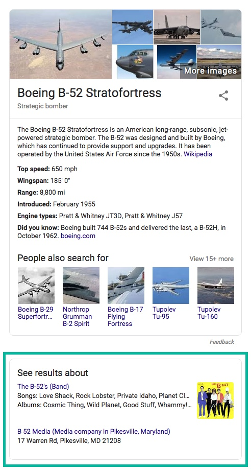 google search results b-52 band bomber voice user interface