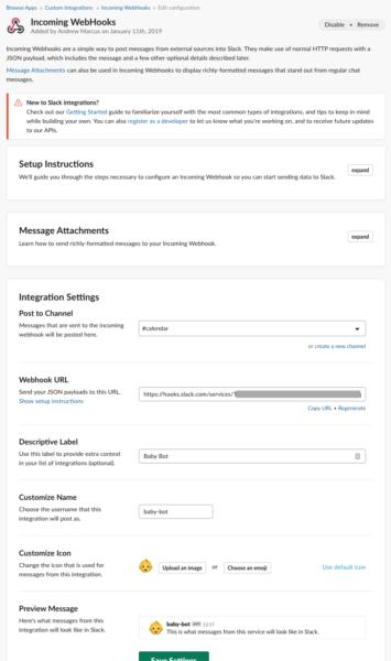 Create a Slack webhook