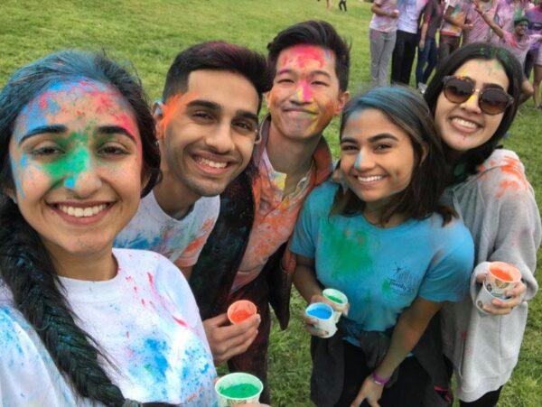 Group of friend celebrating Holi