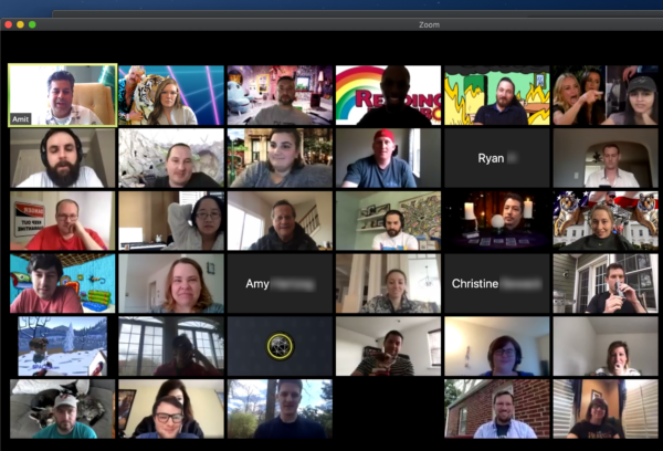 Screen shot of Zoom meeting with coworkers