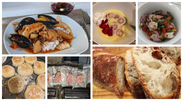 six panel collage of seafood stew baguette english muffin ceviche creme anglaise