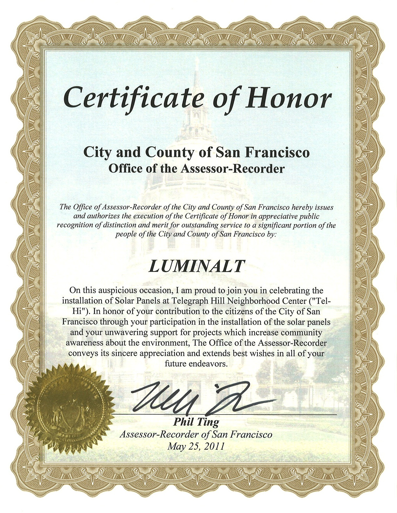 Certificate of Honor community service solar installer Phil Ting