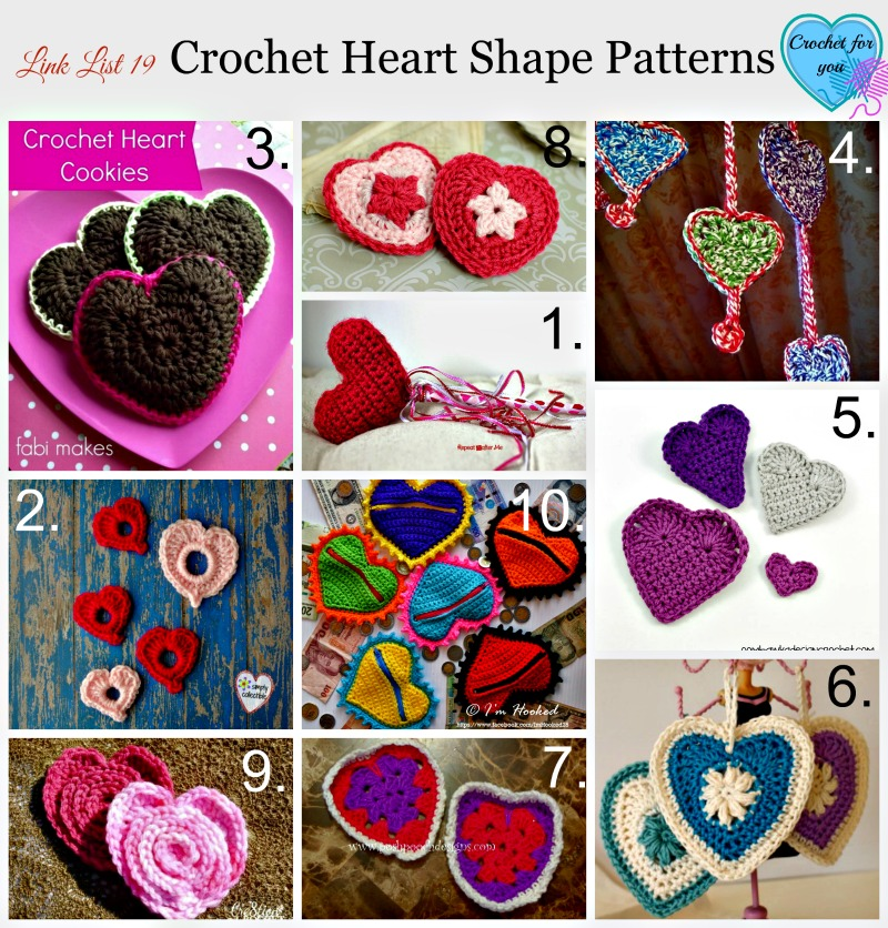 Link List 19 Crochet Heart shape patterns