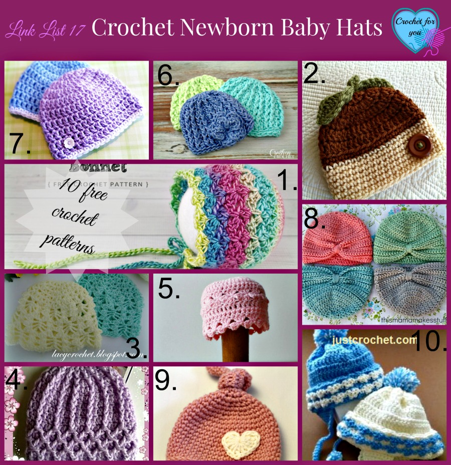 Link list 17 Crochet newborn baby hat