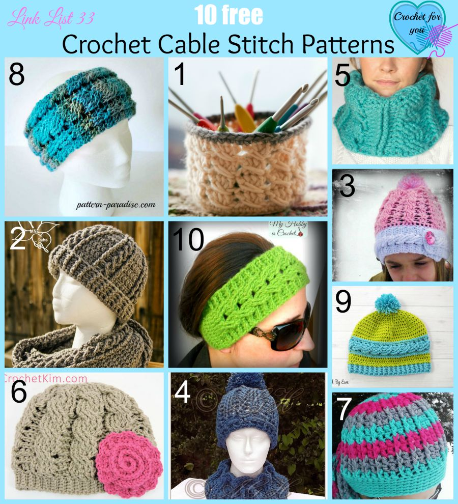 10 Free Crochet Cable Stitch Patterns