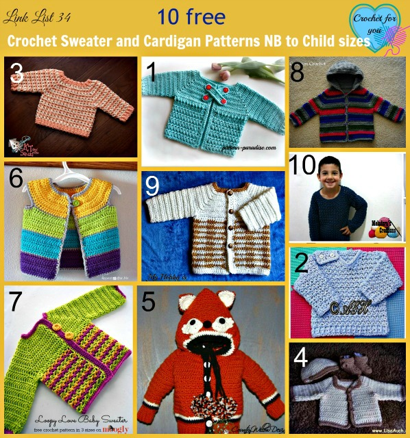 10 free Crochet Sweater and Cardigan Patterns NB to Child Sizes