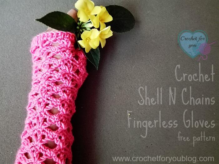 Crochet Shell N Chains Fingerless Gloves - free pattern