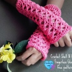 Crochet Shell N Chains Fingerless Gloves - free pattern