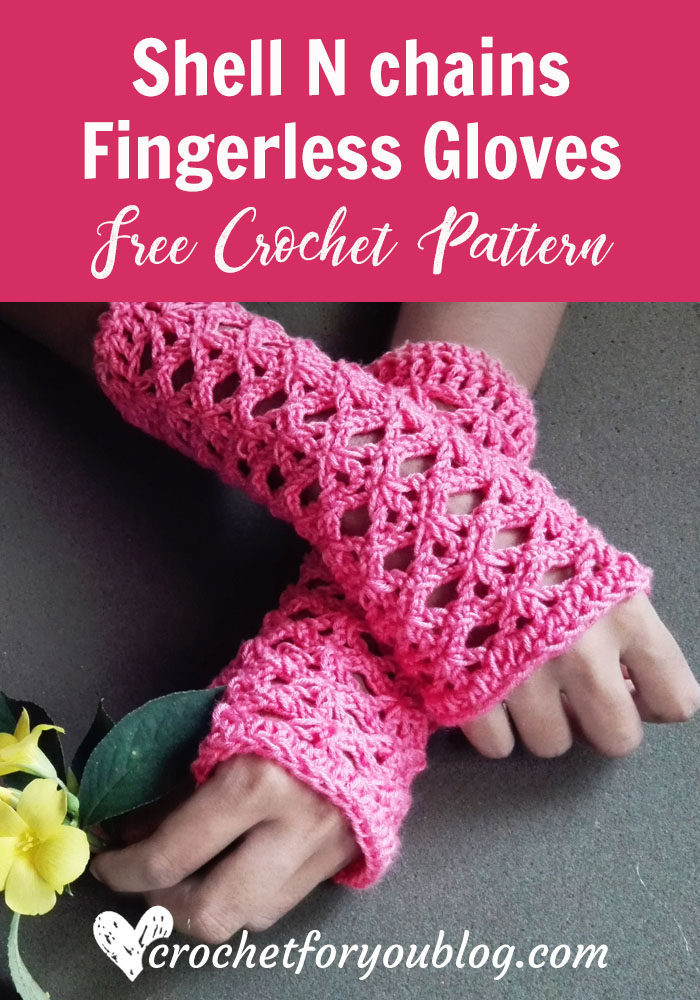 Shell N chains Fingerless Gloves - free crochet pattern