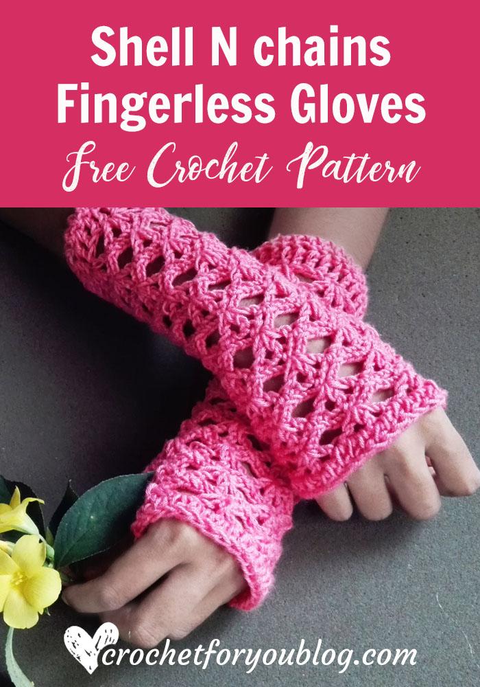 Shell N chains Fingerless Gloves - free crochet pattern