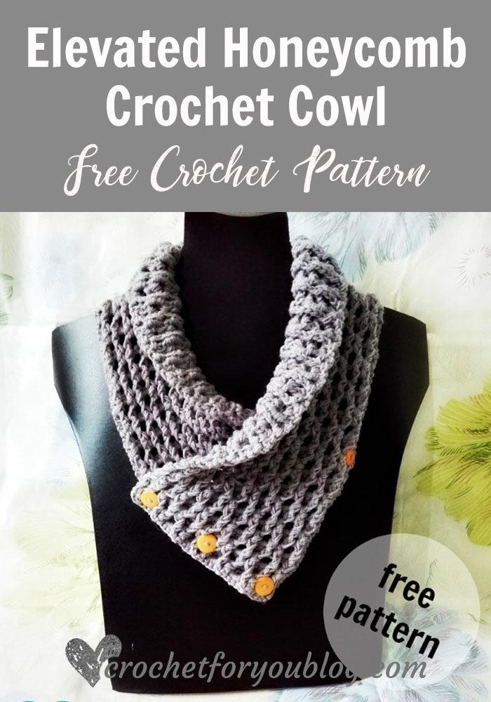 Elevated Honeycomb Crochet Cowl - free crochet pattern