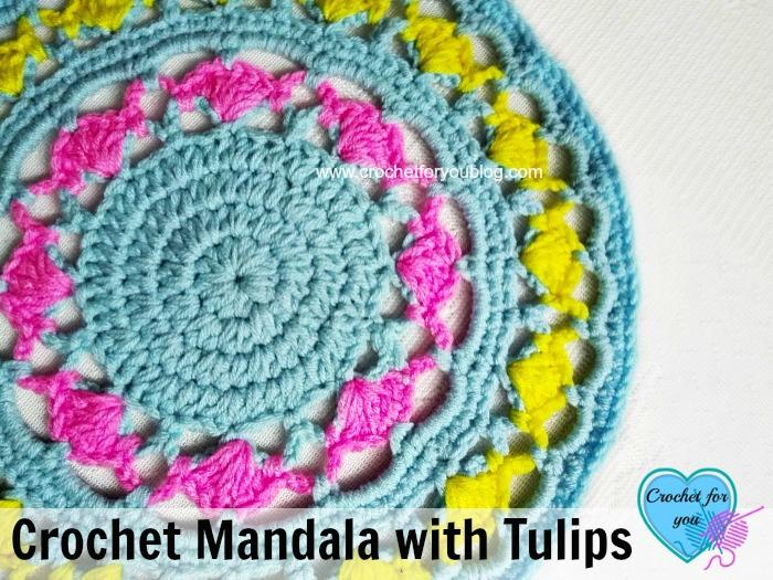 Crochet Mandala with Tulips - free pattern