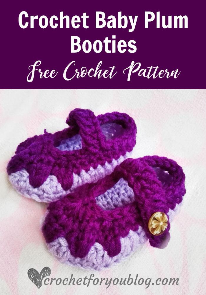 Crochet Baby Plum Booties - free crochet pattern