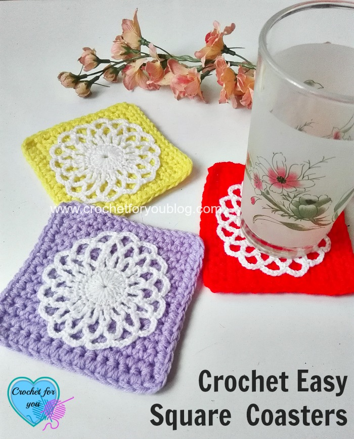 Crochet Easy Square Coasters - free crochet pattern