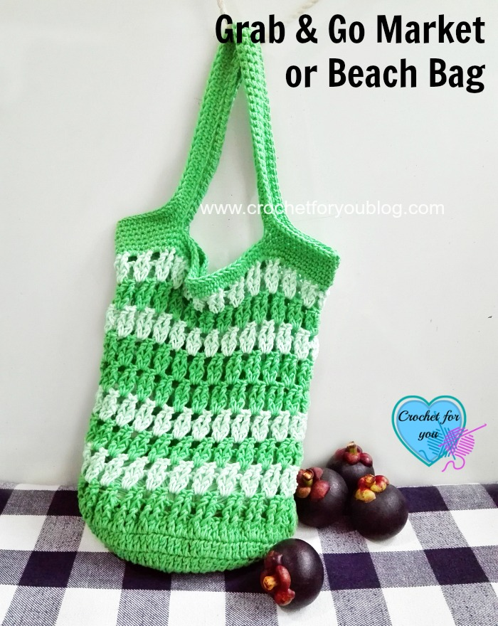Grab & Go Market or Beach Bag free crochet pattern