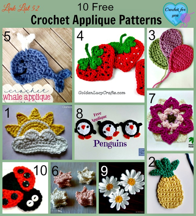 10 free crochet applique patterns