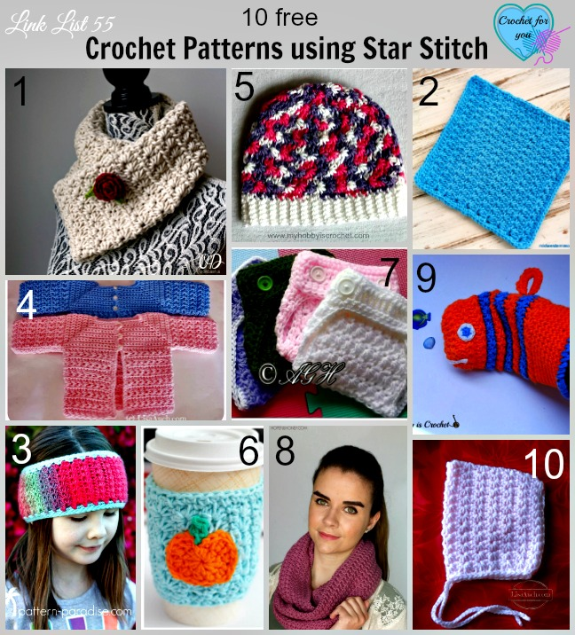10 Free Crochet Patterns using Star Stitch