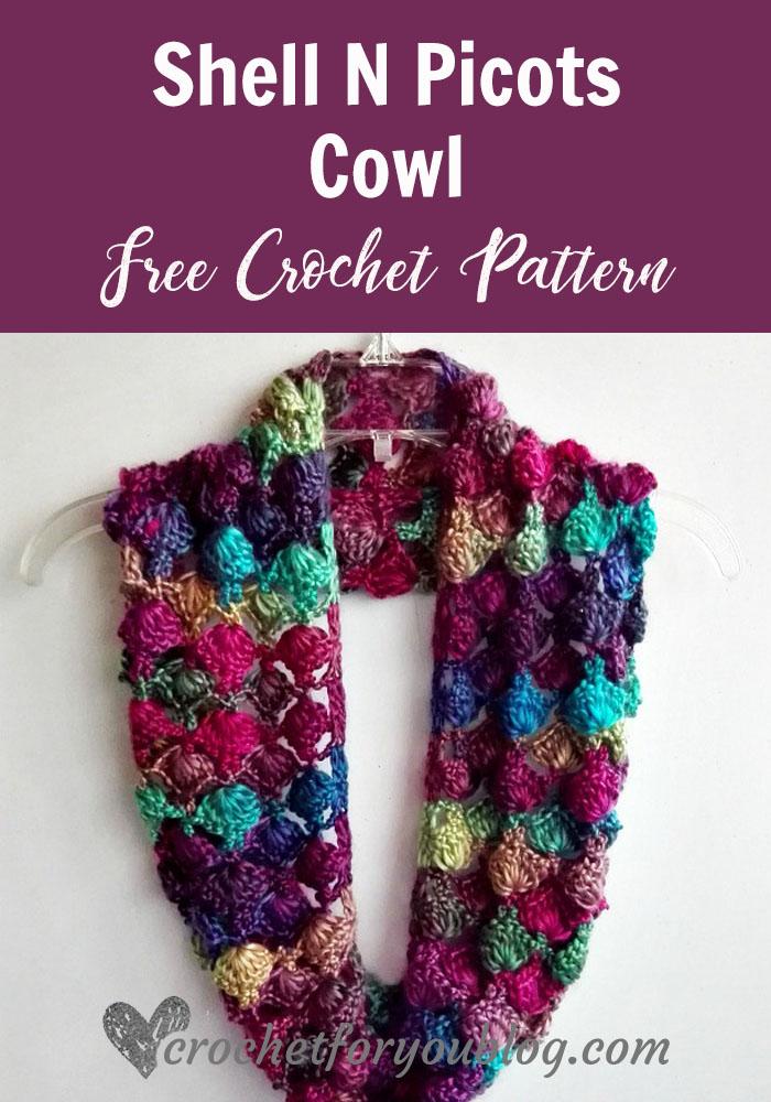 Shell N Picots Cowl - free crochet pattern
