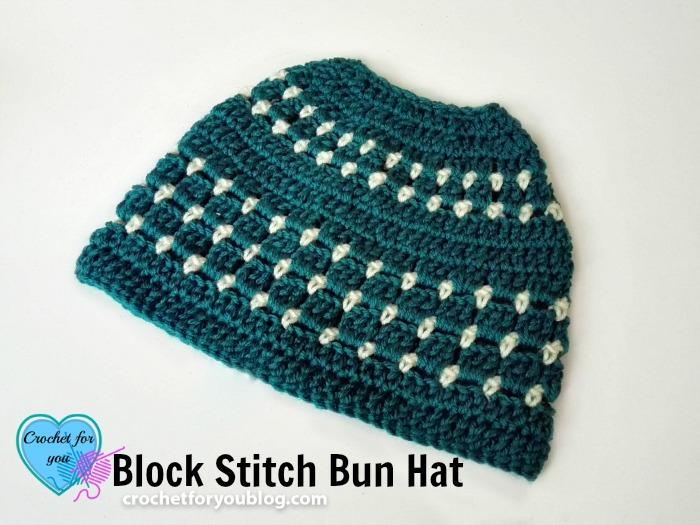 Block Stitch Bun Hat Free Crochet Pattern