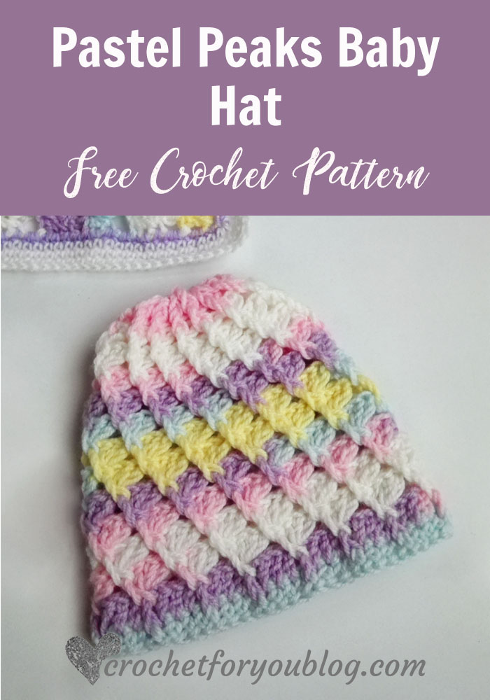 Pastel Peaks Crochet Baby Hat - free crochet pattern