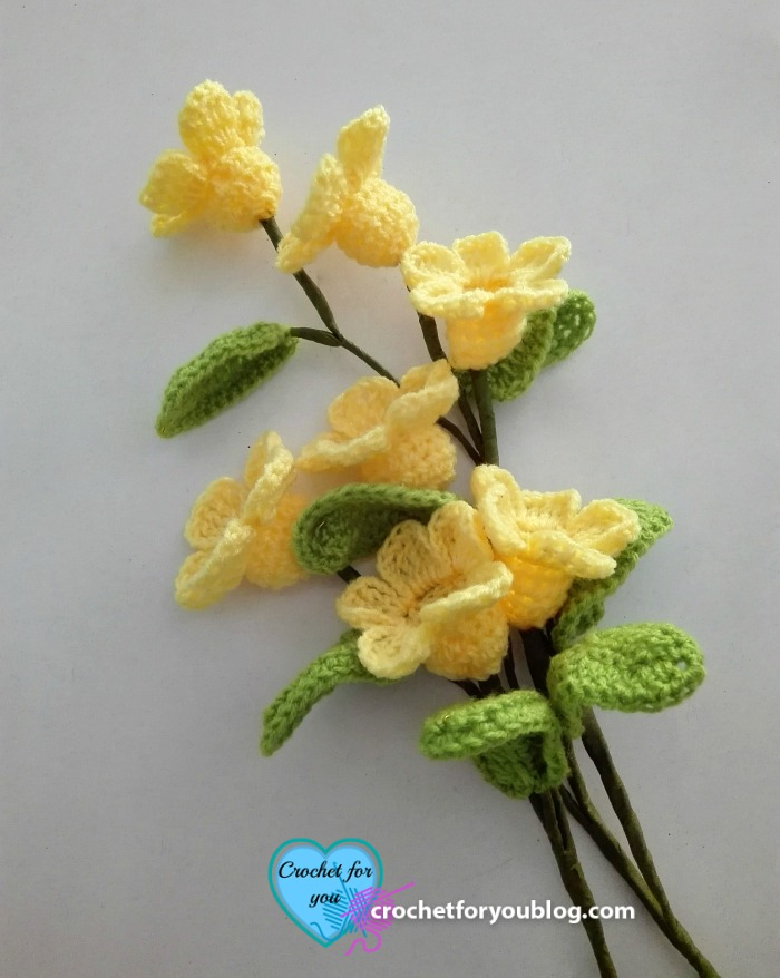 Crochet 3D flower bouquet free crochet pattern