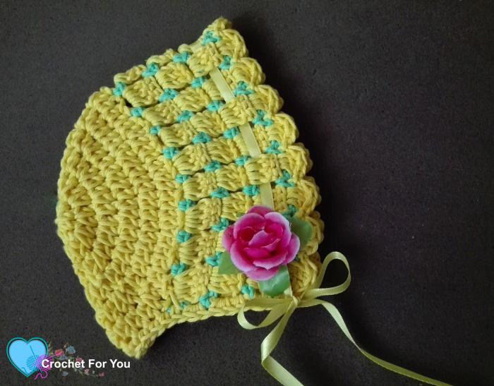 Citrus Cotton Baby Bonnet Free Crochet Pattern
