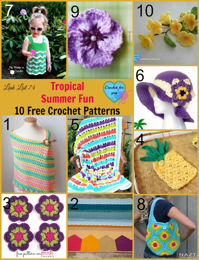 Tropical Summer Fun 10 Free Crochet Patterns