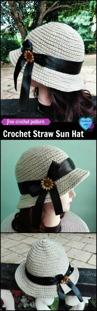 Crochet Straw Sun Hat - free pattern