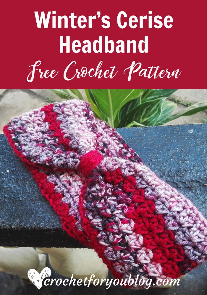 Winter's Cerise Crochet Headband - free crochet pattern