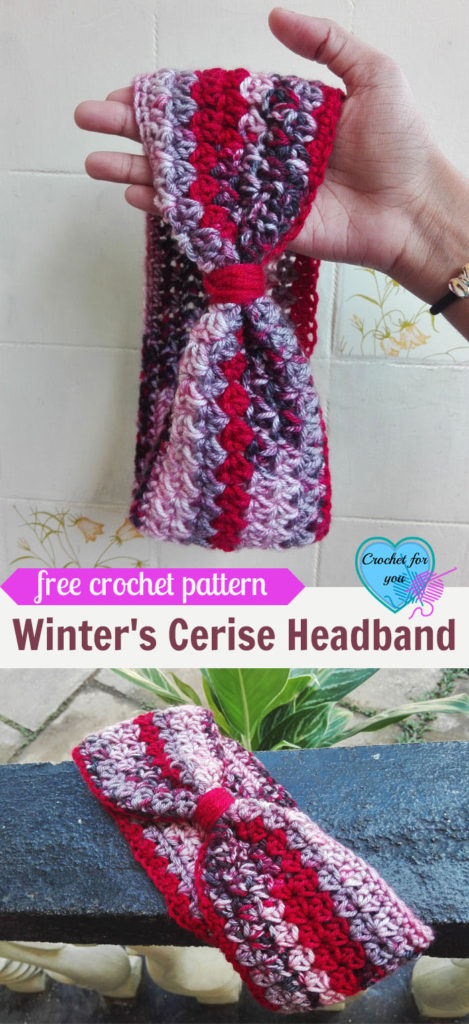 Winter's Cerise Crochet Headband Free Pattern